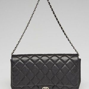 Chanel  Black Quilted Caviar Leather Jumbo Flap